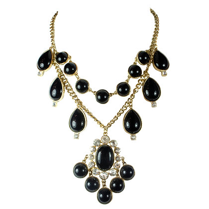 Black Round Stoned Gold Necklace - 168 S2093