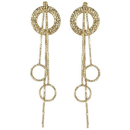 Crystaled Gold Hoop Earrings