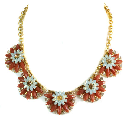 Light Blue Maroon Floral Necklace