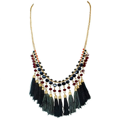 Black Tassel Red Beaded Gold Necklace