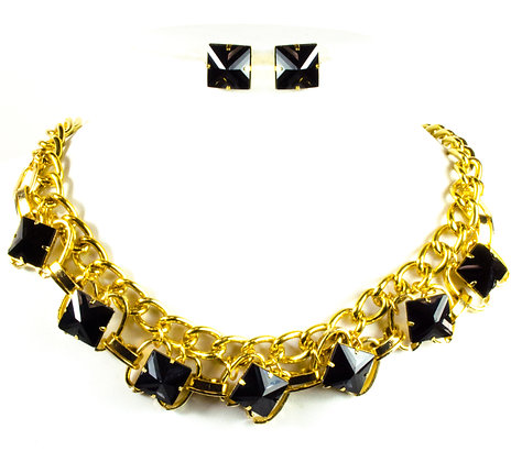 Black Pyramid Stoned Gold Necklace Set - Model: 243 JS4979