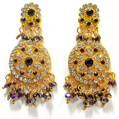 Purple White Crystaled Gold Chandelier Earrings - TROY 100 PWC