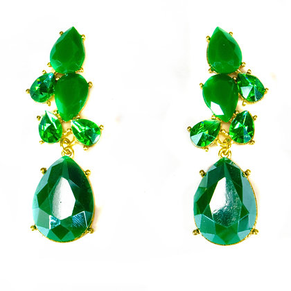 Green Crystal and Stone Earrings -