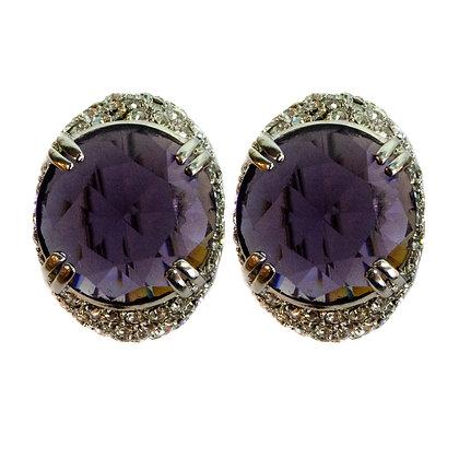 Purple Stoned Crystaled Earrings