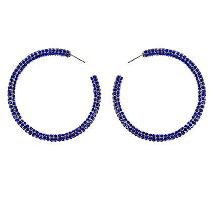 Dark Blue Crystaled Silver Large Hoop Earrings