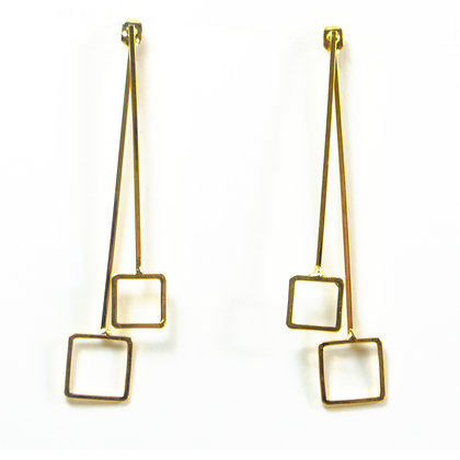 Gold Dainty Square Earrings - TROY 3307