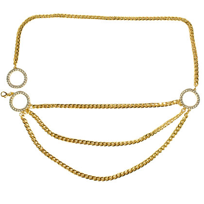 Gold Three Layered Chain Belt with Crystal Belts