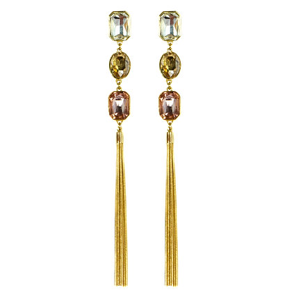 White Yellow Pink Stoned Gold Tassel Earrings