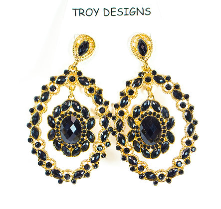 Black and Gold Small Stone Earring