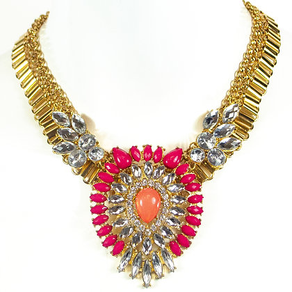 Pink and Coral Stoned Crystal Fashion Necklace