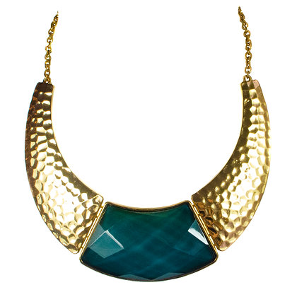 Teal Stoned Gold Plate Necklace