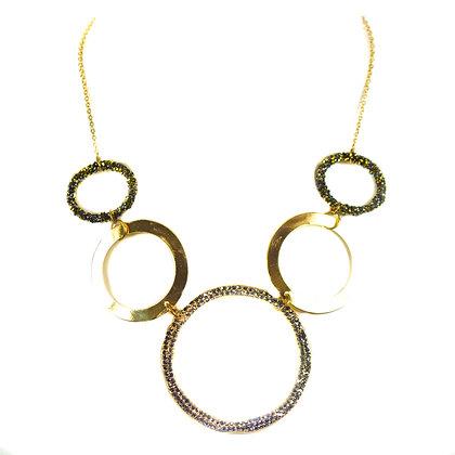 Gold Glitter Hoop Fashion Necklace - Model: TROY 5202