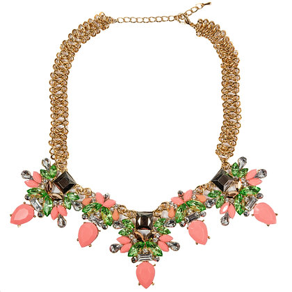 Coral and Green Stoned Gold Necklace