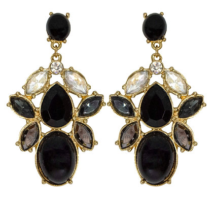 Black Stoned and Crystaled Earrings