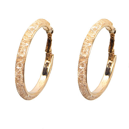 Rose Gold Mesh Hoop Earrings - TROY 3371