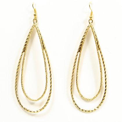 Gold Swirled Drop Earrings - TROY 100 SDE
