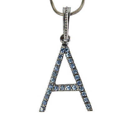 Silver Blue Rhinestoned Letter A Necklace