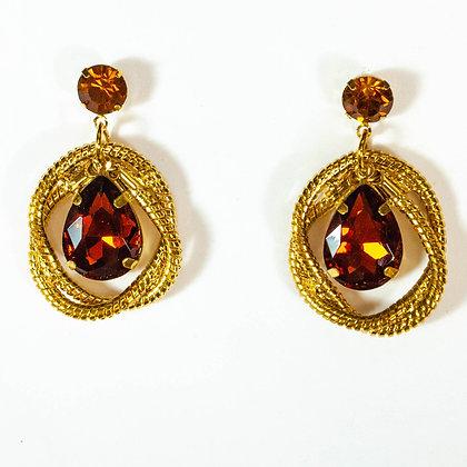 Brown Crystal Gold Earrings - Model: 26 ME9002