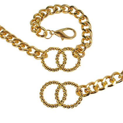 Gold Chain Belt with Double Hoop Swirls