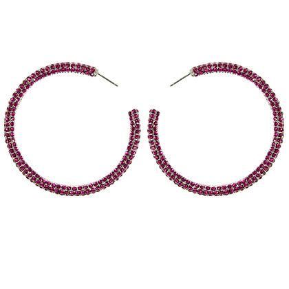 Pink Crystaled Silver Large Hoop Earrings