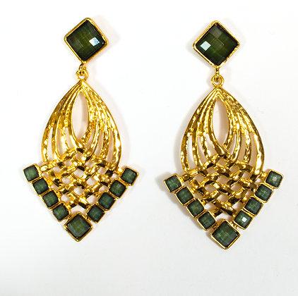 Green Stoned Gold Earrings - 2 SYE7712