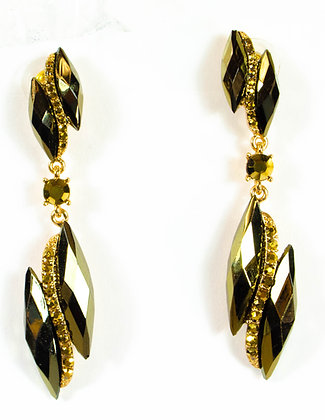 Green Stoned Gold Detailed Earrings - Model: 2 SAE7576
