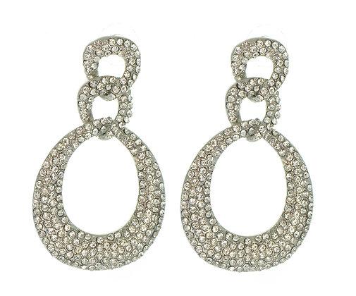 TD3001-Silver Crystaled Earrings