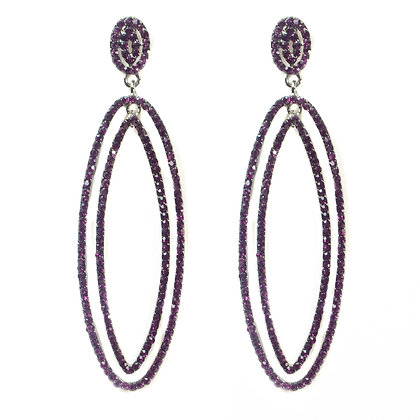 Purple Beaded Double Hoop Earrings - TROY 100 PBD