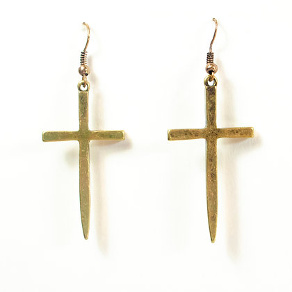 Gold Metal Size Cross Earrings - TROY CRS1