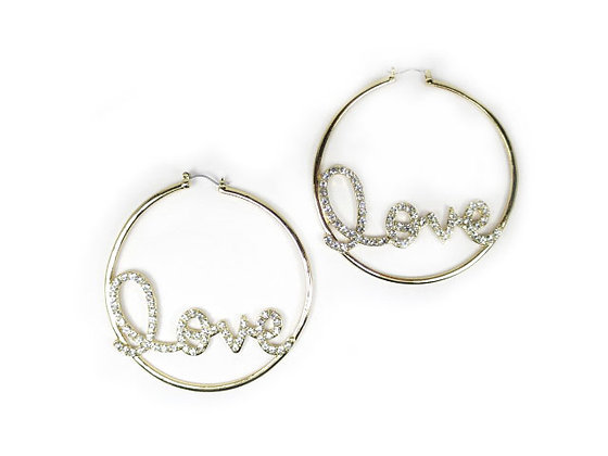 EARRING - LOVE/CRYSTAL/GOLD