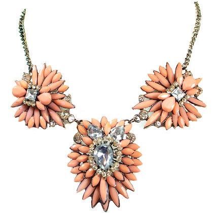 Coral Floral Crystaled Necklace - Model: TROY 882