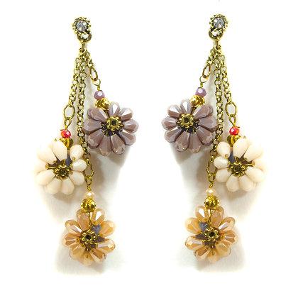 White Purple Orange Flower Petals Earrings - 381 ER636