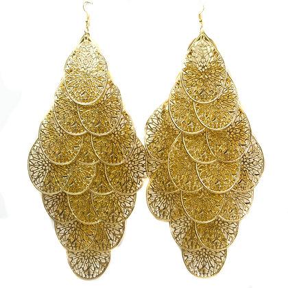 Large Gold Chandelier Earrings - T1234