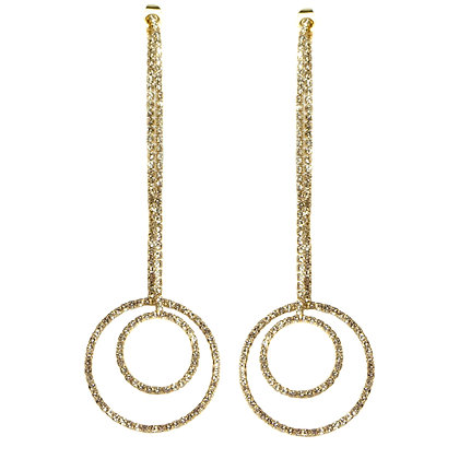 Crystal Tassel Gold Inter Hoop Earrings