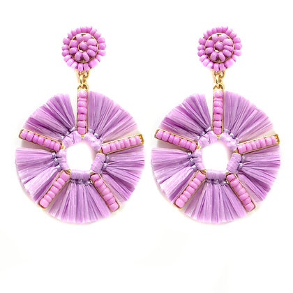 Fuschia Beaded Flower Earrings - 299 HE4652