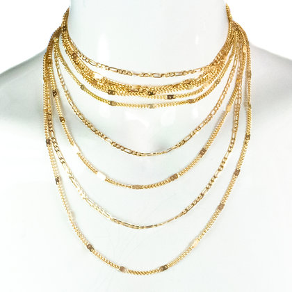 Multi Layer Gold Chain Necklace - TROY 5058