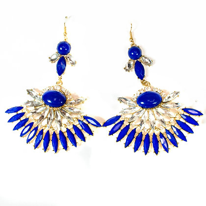 Blue Stoned Crystal Flower Earrings - Model: 100 1234