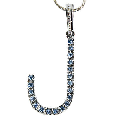 Silver Blue Rhinestoned Letter J Necklace