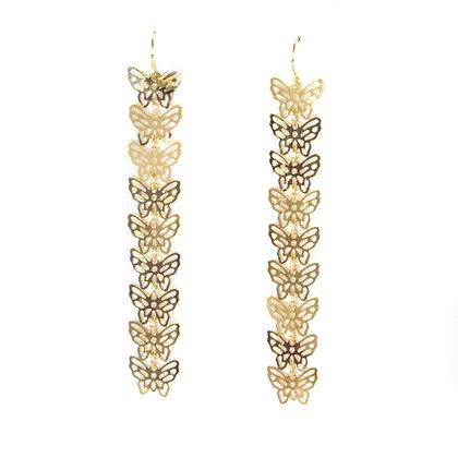 Gold Butterfly Drop Earrings - TROY 5467