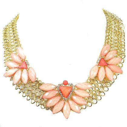 Light Pink Floral Necklace Set - Model: TROY 100LPF