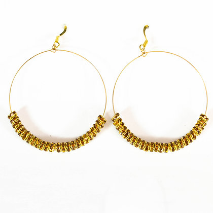 Gold Hoop Earrings with Brown Beads