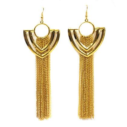Gold Shield Shaped Tassel Earrings - TROY GSST
