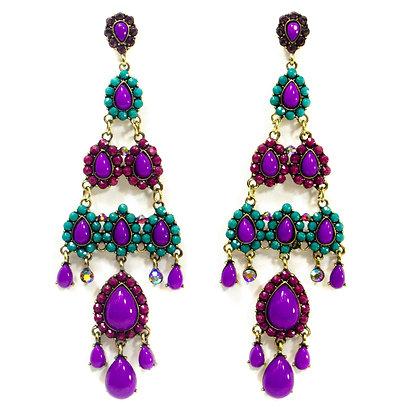 Purple Green Beaded Chandelier Earring - TROY 100 PGC