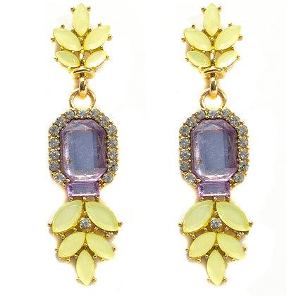 Yellow Petaled Light Purple Stoned Earrings - TROY 100 YPL