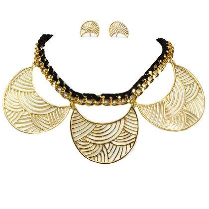 Black and Gold Crescent Necklace Set - Model: 414 SH40580