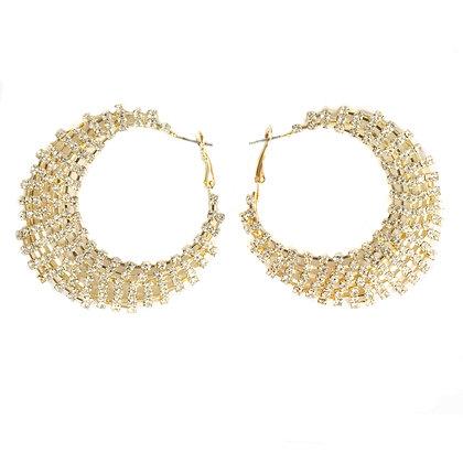 Rhinestoned Gold Hoop Earrings - TROY 5448