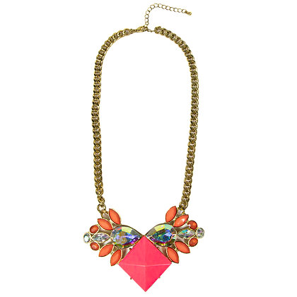 Coral and Pink Stoned Gold Chained Necklace