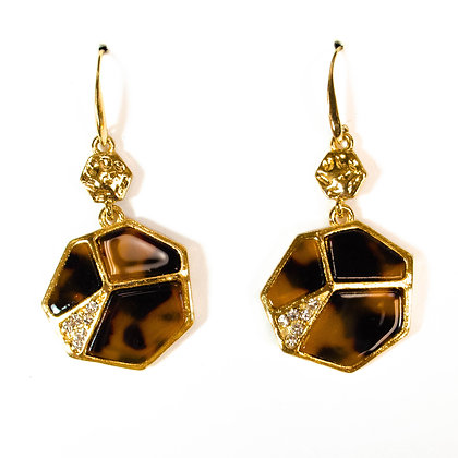 Silver Stoned Gold Earrings with Leopard Texture - Model: 26 ME4179