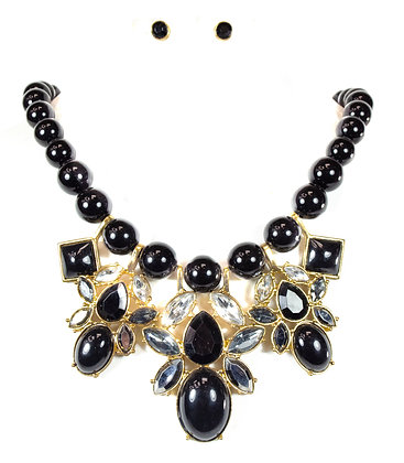 Black Beaded Trio Necklace Set - TD: 750