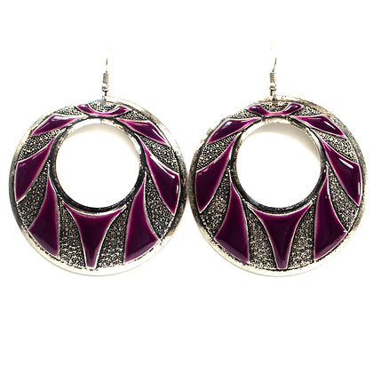 Gray Purple Metal Plate Earrings - Model: TROY 100 GMP